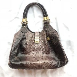 Brahmin croc embossed leather shoulder bag